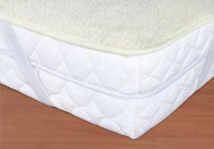 Vlnený matracový chránič 90 x 200 cm biely - európske merino