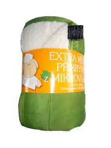 Deka mikrovlákno - Deka Ovečka zelená / biela