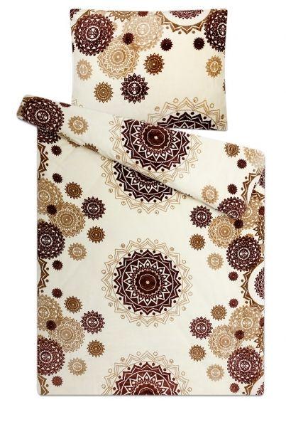 S geometrickým vzorom kvalitný a hrejivé mikroflanelové posteľné obliečky Mandaly vanilka, Svitap