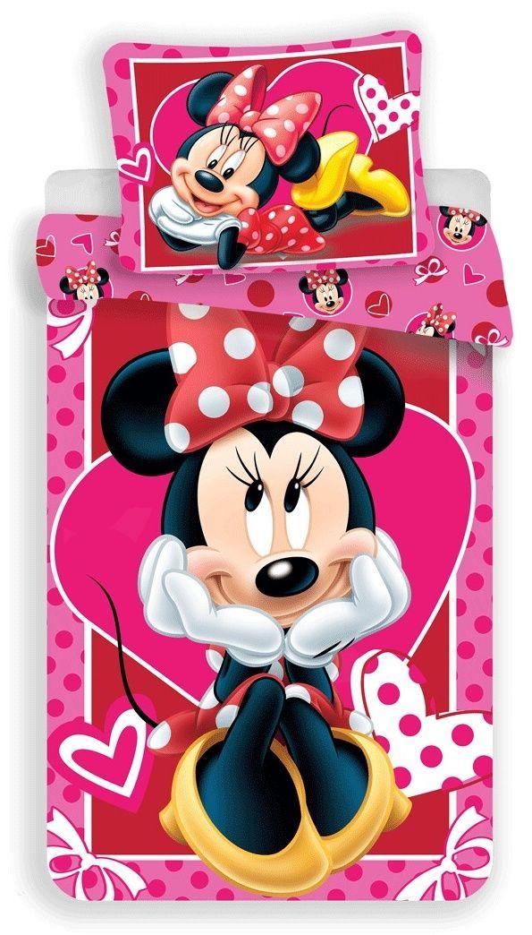 Pre dievčatka kvalitné detské bavlnené posteľné obliečky Minnie hearts 02, Jerry Fabrics