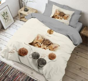 Kvalitné bavlnené 3D obliečky Kitten, | 140x200, 70x90 cm, 140x200, 70x90 cm