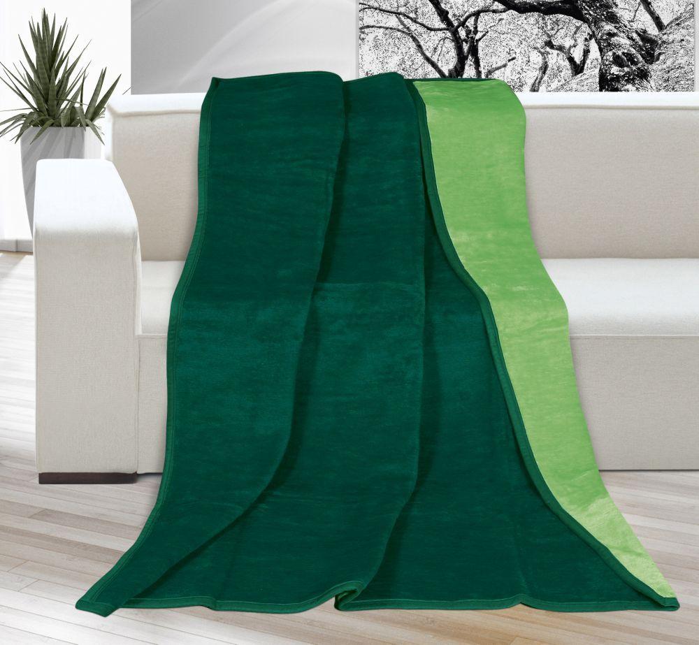 Akrylová deka Kira jednofarebná - tmavozelená/zelená, Kvalitex