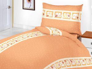 Bavlnené obliečky do postieľky Medvedí rozprávka oranžová