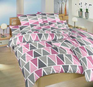 Obliečky bavlna Trojuholníky ružové