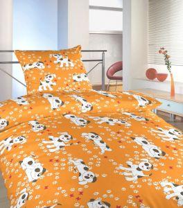 Krepové obliečky do postieľky Psíkovia oranžoví