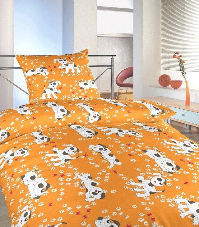 Motív psíkov na detských krepových obliečkach do postieľky Psíkovia oranžoví, Dadka
