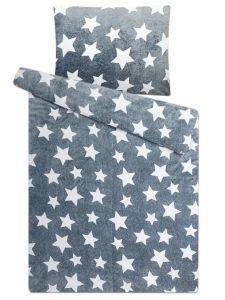 Na šedom podklade bielej hviezdičky u mikroflanelového posteľného prádla Hviezdy sivé, | 140x200, 70x90 cm
