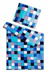 Mikroflanelové obliečky Kocka modrá