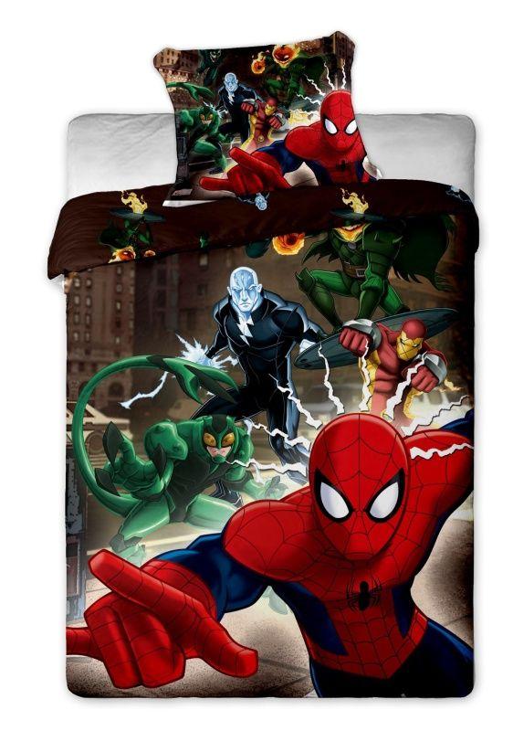 Motív pavúčieho muža na detských bavlnených obliečkach Disney - Spiderman brown, Jerry Fabrics