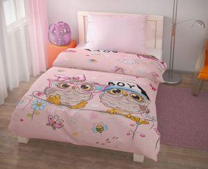Bavlnené obliečky pre deti s motívom sovičiek Puhu ružové, Kvalitex