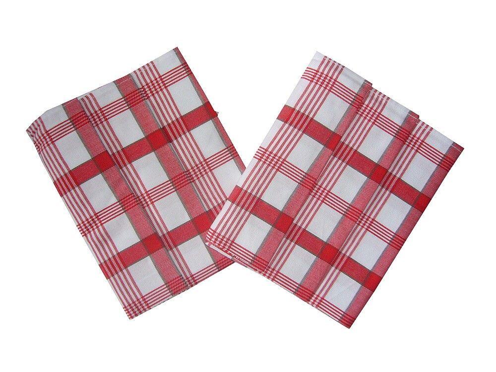 V červeno bielej farbe ladená utierka z bavlny Káro červené 3 ks, Svitap
