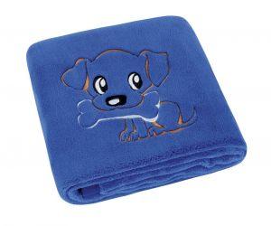 Jemne zamatová detská prikrývka v modrej farbe s výšivkou psíka, | rozmer 75x100 cm.