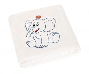 Detská prikrývka Micro s výšivkou sloník biela