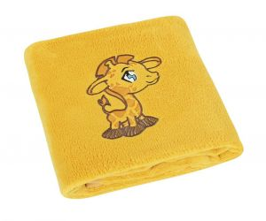Jemne zamatová detská prikrývka v žltej farbe s výšivkou ŽIRAFKOU, | rozmer 75x100 cm.