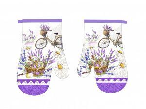 Krásna kuchynská chňapka vo fialovej farbe s motívom levandule,   Kuchynská chňapka 2 ks
