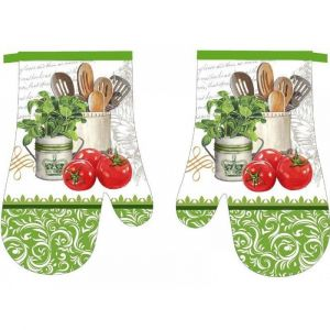 Kuchynská chňapka 2 ks Zelená s paradajkami