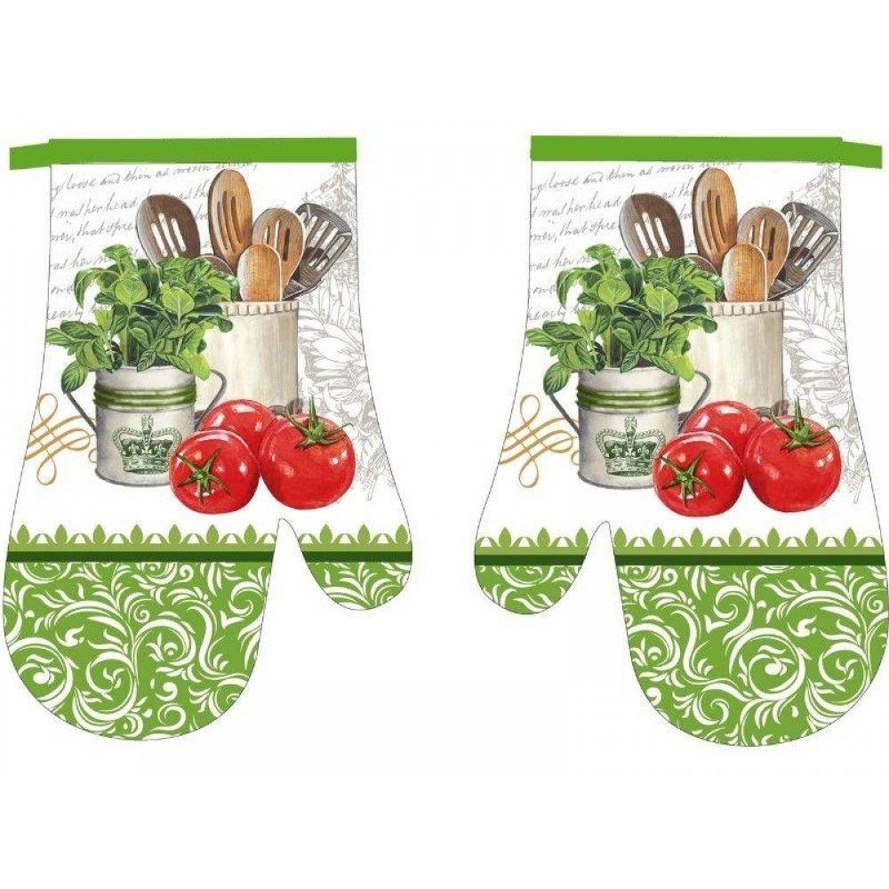 Kuchynská chňapka 2 ks Zelená s paradajkami Praktik