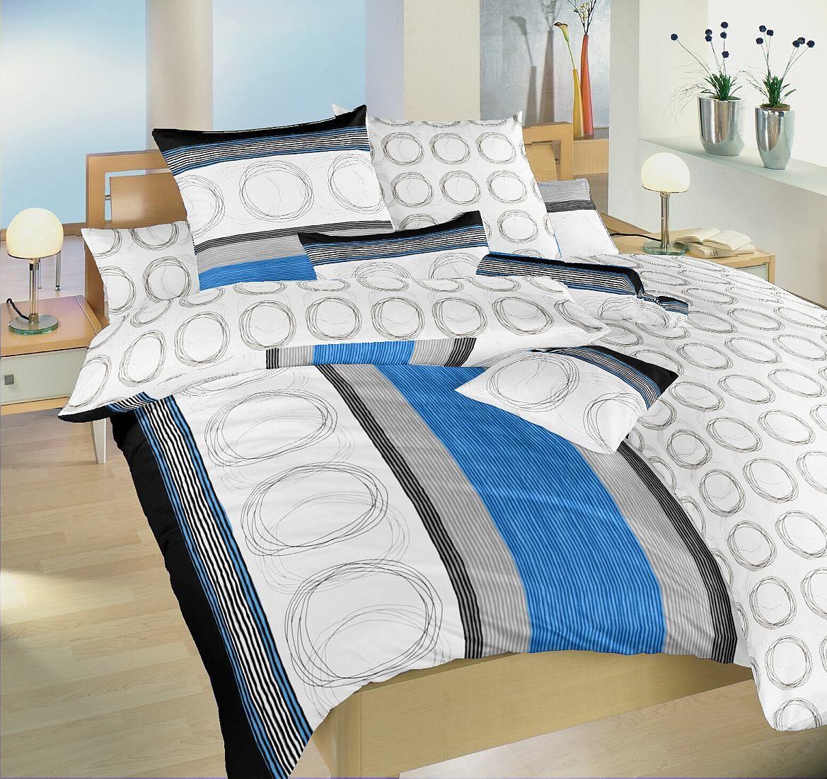 Českej výroby bavlnené posteľné obliečky Kružnica modrej a krúžky, Dadka