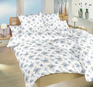 Bavlnené obliečky s modrými ružami na bielom podklade, | 140x200, 70x90 cm