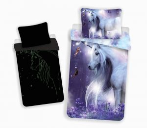 Bavlnené obliečky Unicorn svietiaci efekt