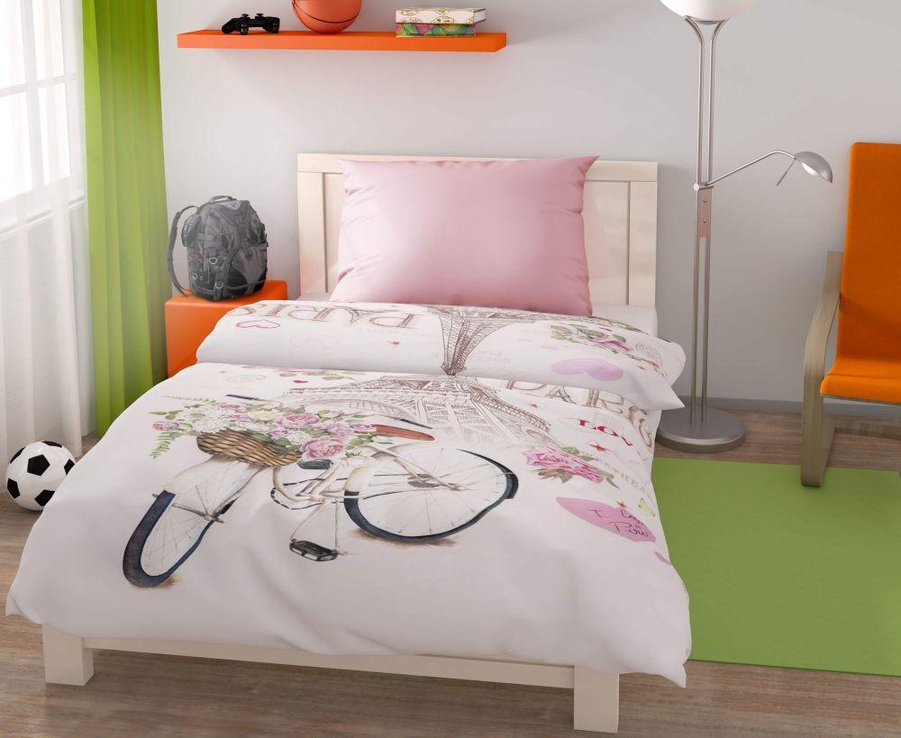 Pre teenagerov a mladých kvalitné bavlnené posteľné obliečky Paris Love, Kvalitex