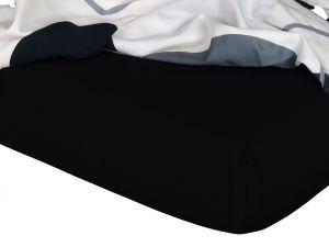 Kvalitné napínacie jersey prestieradlo v čiernej farbe, | rozmer 60x120 cm., rozmer 90x200 cm., rozmer 140x200 cm., rozmer 180x200 cm.
