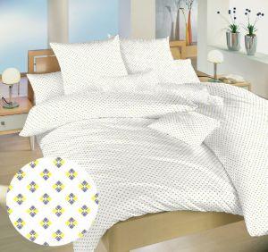Obliečky bavlna Carré žlté | 140x200, 70x90 cm