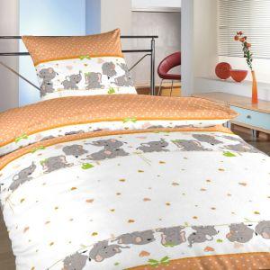 Obliečky bavlna do postieľky Slony oranžoví | 90x130, 45x60 cm