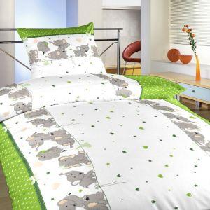 Detské bavlnené obliečky Slony kivi, | 140x200, 70x90 cm, 40x40 cm povlak, 40x50 cm povlak