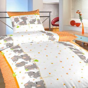 Detské bavlnené obliečky Slony oranžoví, | 140x200, 70x90 cm, 40x40 cm povlak, 40x50 cm povlak