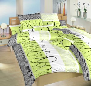 Českej výroby kvalitnej flanelové posteľné obliečky Evelína kivi, | 140x200, 70x90 cm