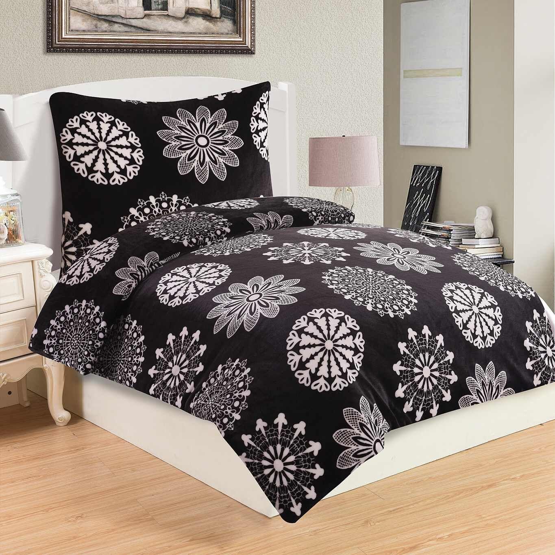 Do čiernej farby ladené kvalitný a hrejivé mikroflanelové posteľné obliečky Coco black, Jahu