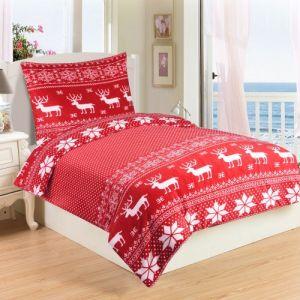 S motívom sobů kvalitné mikroflanelové posteľné obliečky Sob červený,   140x200, 70x90 cm