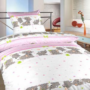 Krepové obliečky do detskej postieľky Slony ružové, | 90x130, 45x60 cm
