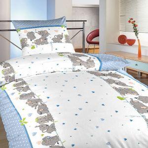 Krepové obliečky Slony denim, | 140x200, 70x90 cm, 140x220, 70x90 cm, 40x40 cm povlak, 40x50 cm povlak
