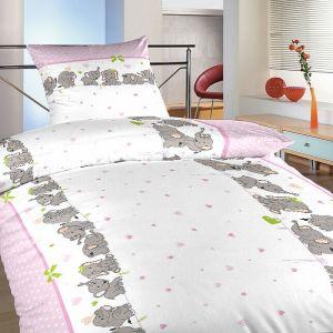 Krepové obliečky Slony růžoví | 140x200, 70x90 cm, 140x220, 70x90 cm, 40x40 cm povlak, 40x50 cm povlak