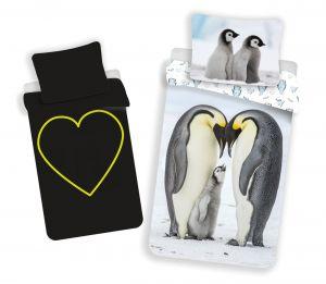 Bavlnené obliečky Tučniaci svietiaci efekt | 140x200, 70x90 cm