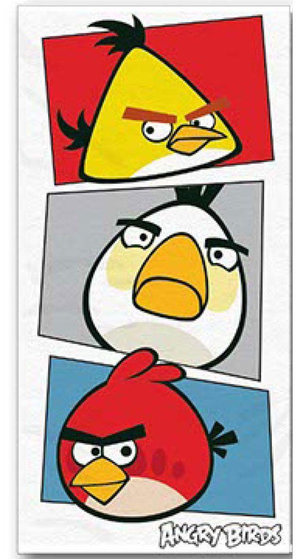 Osuška Angry Birds bílá 70/140 cm