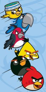 Osuška Angry Birds Rio modrá 70/140 cm