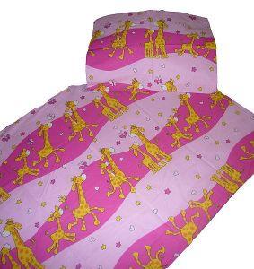 Krepové obliečky do postieľky Žirafa ružová